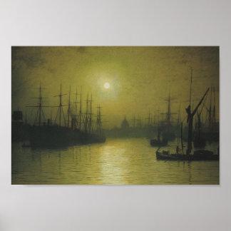 Anochecer de Juan Atkinson Grimshaw- en el Thames Poster