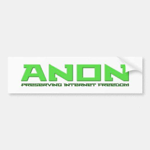 Anon preservar la libertad del Internet Pegatina De Parachoque