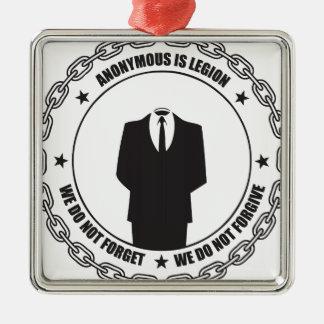 Anónima es la legión adorno navideño cuadrado de metal