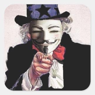 Anónimo le quiere pegatina cuadradas personalizada