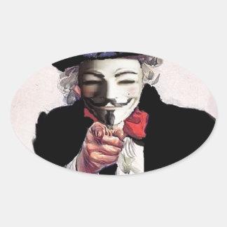 Anónimo le quiere pegatina óval