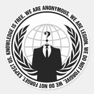 Anonymous badge classic round sticker