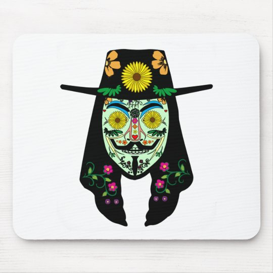 ANONYMOUS Day of the Dead 5 Anon Mask Sugar skull Mouse Pad
