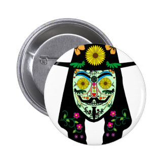 ANONYMOUS Day of the Dead 5 Anon Mask Sugar skull Pinback Button