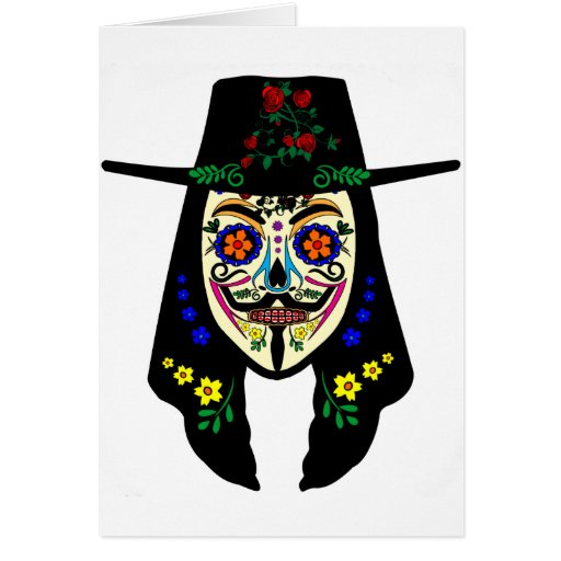 ANONYMOUS Day of the Dead 6 Anon Mask Sugar skull Greeting Card