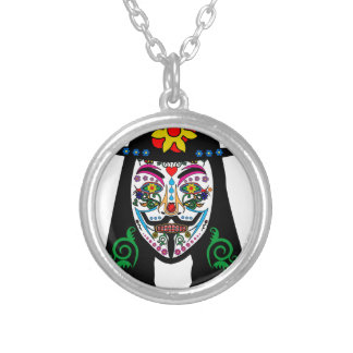 ANONYMOUS Day of the Dead 7 Anon Mask Sugar skull Round Pendant Necklace
