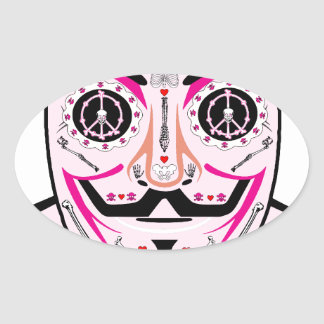 ANONYMOUS Day of the Dead Pink Art Anon Mask 4Chan Oval Sticker