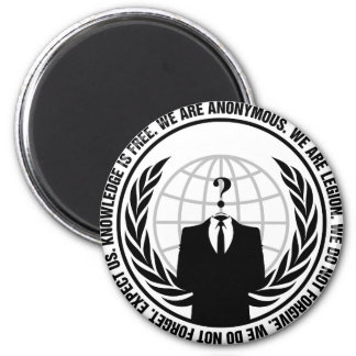 anonymous logo with slogan magnet