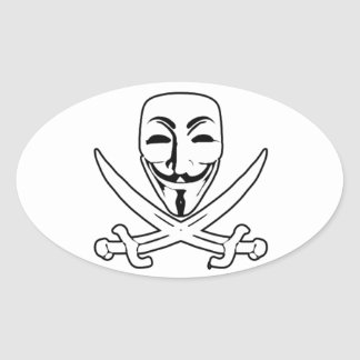 Anonymous pirate oval sticker