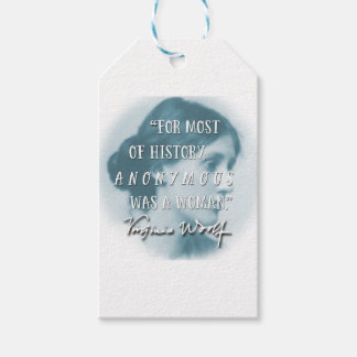 Anonymous Was a Woman ~ Virginia Woolf quote blue Gift Tags