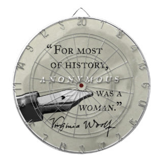 Anonymous Was a Woman ~ Virginia Woolf quote circl Dart Board
