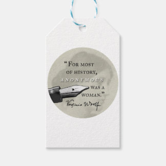 Anonymous Was a Woman ~ Virginia Woolf quote circl Gift Tags
