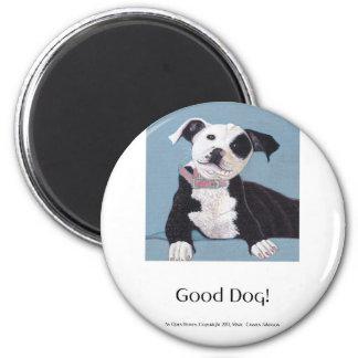 AnOpenHeaven, buen perro, perro blanco y negro, ma Imán Redondo 5 Cm