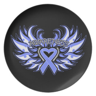 Anorexia Nervosa Awareness Heart Wings Dinner Plate