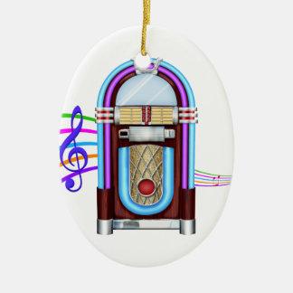 Años 50 fabulosos - roca las veinticuatro horas adorno navideño ovalado de cerámica