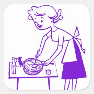 Años 60 TV del kitsch del vintage que cocinan el Pegatina Cuadrada