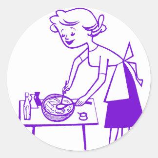 Años 60 TV del kitsch del vintage que cocinan el Pegatina Redonda