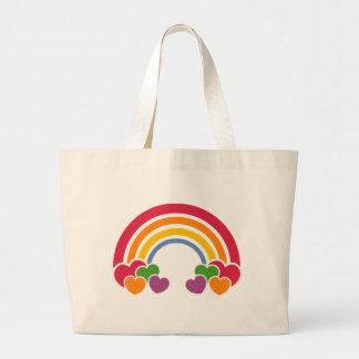 años 80 arco iris y bolso de los corazones bolsa de tela grande