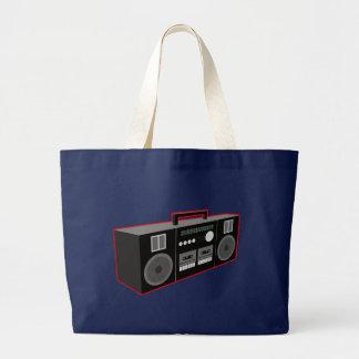 años 80 Boombox Bolsa Tela Grande