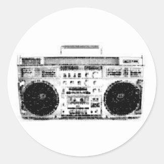 años 80 Boombox Etiquetas Redondas