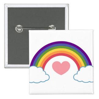 años 80 corazón y arco iris - botón pins