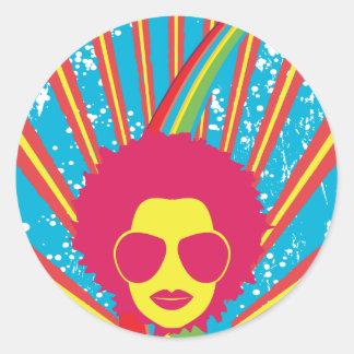 Años 80 enrrollados de la reina 80s del disco del pegatina redonda