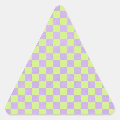 años 80 retros verde amarillo de neón y a cuadros pegatina triangular