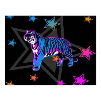 Años 80 tigre y estrellas retros del tigre de postal