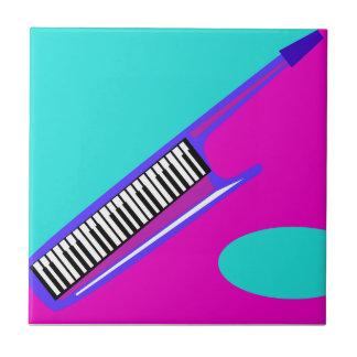 Años 80 totalmente de neón Keytar Azulejo Cuadrado Pequeño