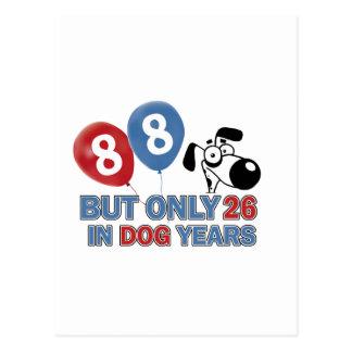 Años divertidos del perro diseños 88 años postales