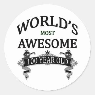 Años más impresionantes del mundo los 100 etiqueta redonda