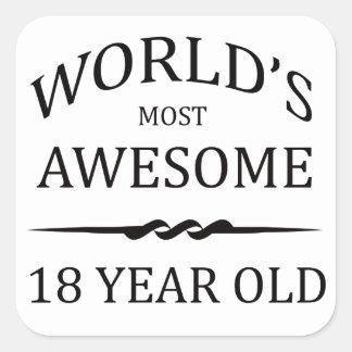 Años más impresionantes del mundo los 18 pegatinas cuadradases personalizadas