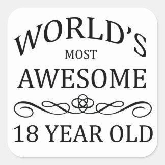 Años más impresionantes del mundo los 18 calcomanias cuadradas