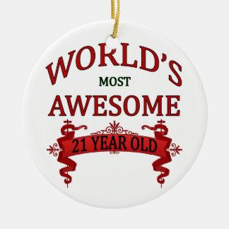 Años más impresionantes del mundo los 21 adorno navideño redondo de cerámica