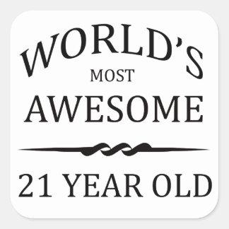 Años más impresionantes del mundo los 21 pegatina cuadrada