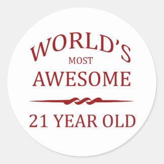Años más impresionantes del mundo los 21 pegatina redonda