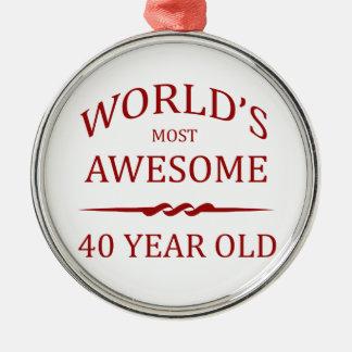Años más impresionantes del mundo los 40 adorno navideño redondo de metal