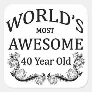 Años más impresionantes del mundo los 40 pegatina cuadrada