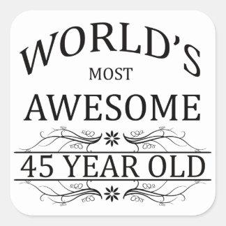 Años más impresionantes del mundo los 45 pegatina cuadrada