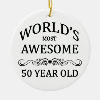 Años más impresionantes del mundo los 50 adorno navideño redondo de cerámica