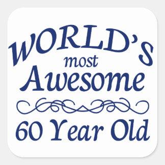 Años más impresionantes del mundo los 60 pegatina cuadrada