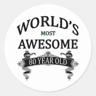 Años más impresionantes del mundo los 80 pegatina redonda