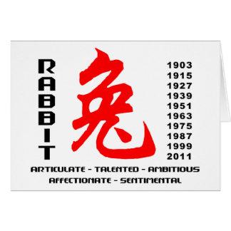 Años Nuevos chinos del regalo del conejo Tarjeta De Felicitación