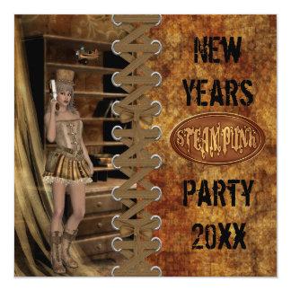"""Años Nuevos de fiesta de Steampunk Invitación 5.25"""" X 5.25"""""""