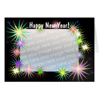 Años Nuevos de Starblast en el negro (marco de la Tarjeta De Felicitación