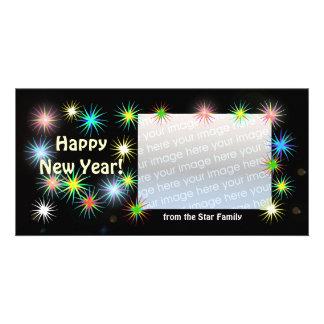 Años Nuevos de Starblast negro Tarjetas Con Fotos Personalizadas