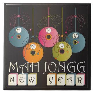 Años Nuevos del Mah Jongg Azulejo Cuadrado Grande