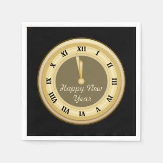 Años Nuevos del reloj de servilletas de papel del