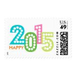 Años Nuevos feliz colorido de la diversión 2015 Franqueo
