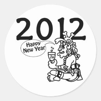 Años Nuevos mayas 2012 Etiqueta Redonda